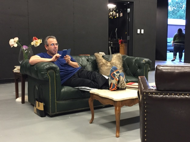 Jay gets comfy on the set during break