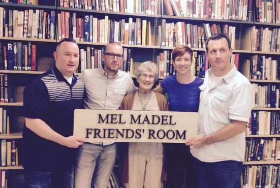Neill, Trevor, Rachel, and Sean pose with Grandma