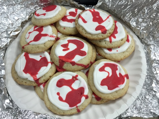 One of our students brought blood spatter cookies. BLOOD SPATTER COOKIES!!!