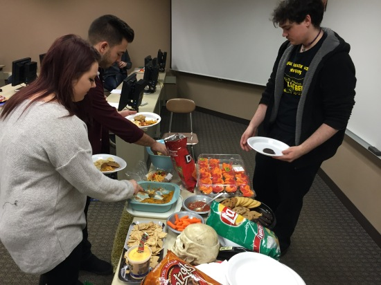 A few students stock up on snacks