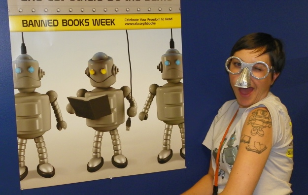 The librarians made me a robot and asked me to compare Sherman (my reading robot) to the ALA's reading robot campaign.