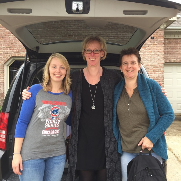 Noëmi, Esther, and Jacqueline, ready (and not ready...) to leave